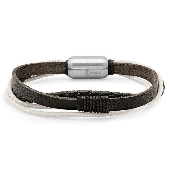 Steeltime Leather Link Bracelet