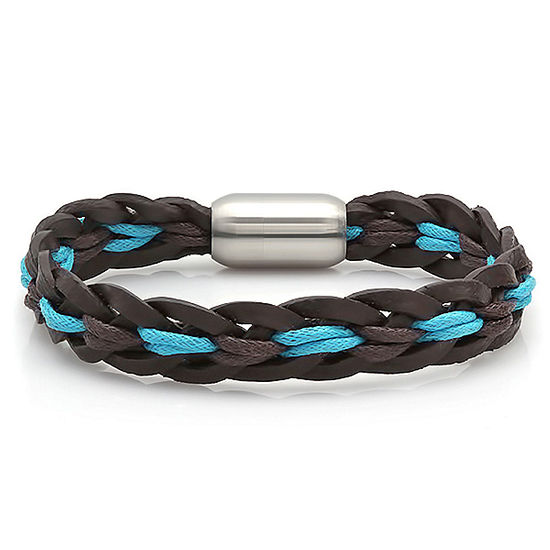 Steeltime Braided Leather Link Bracelet