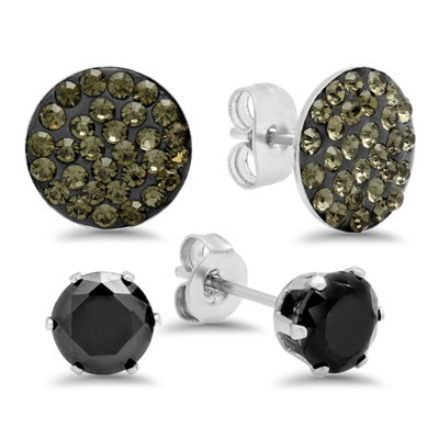 Steeltime 1 7/8 CT. T.W. Black Cubic Zirconia Stainless Steel Round Earring Set