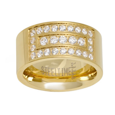 Steeltime Mens 12mm 1/2 CT. T.W. White Cubic Zirconia 18K Gold Over Stainless Steel Round Band