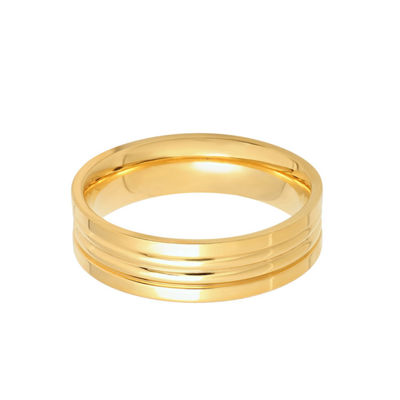 Steeltime Mens 6mm 18K Gold Over Stainless Steel Band