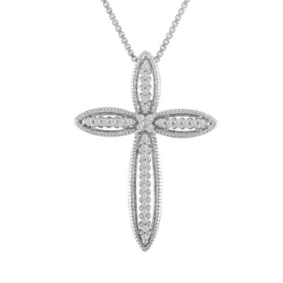 Womens 1/10 CT. T.W. Genuine White Diamond Sterling Silver Cross Pendant Necklace