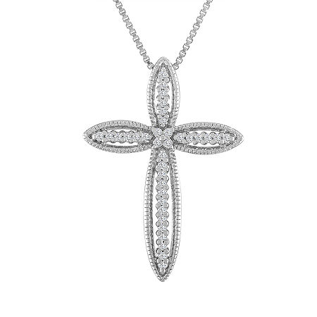 Womens 1/10 CT. T.W. Genuine White Diamond Sterling Silver Cross Pendant Necklace, One Size , No Color Family