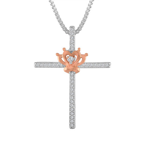 Womens 1/10 CT. T.W. Genuine White Diamond 14K Rose Gold Over Silver Sterling Silver Cross Pendant Necklace