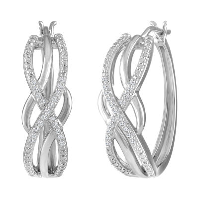 1/10 CT. T.W. Genuine White Diamond Sterling Silver 22.6mm Hoop Earrings
