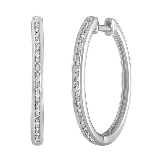 1/10 CT. T.W. Genuine White Diamond Sterling Silver 23mm Hoop Earrings