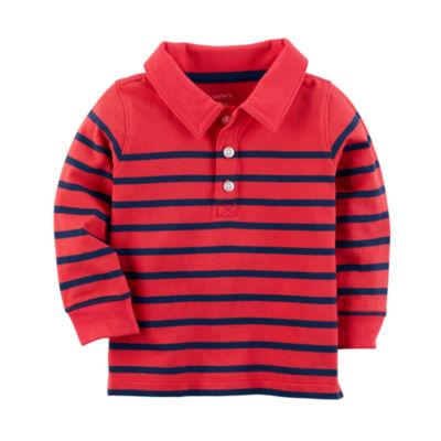 Carter's Long Sleeve Stripe Knit Polo Shirt - Baby Boys