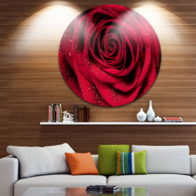 Design Art Red Rose Petals with Rain Droplets Ultra Glossy Floral Metal Circle Wall Art