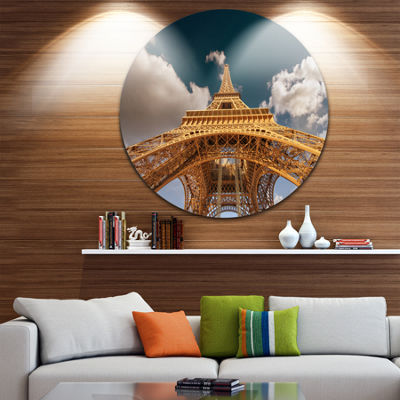 Design Art Beautiful View of Paris Paris Eiffel Towerunder Dark Sky Ultra Glossy Cityscape Circle Wall Art
