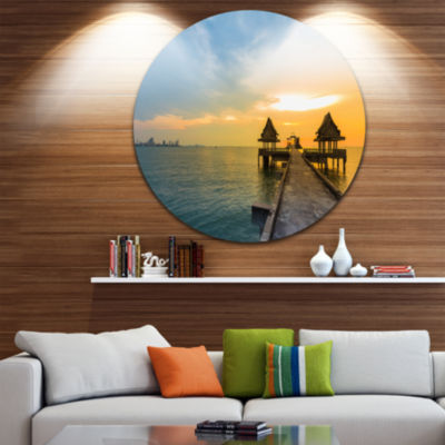 Design Art Walking Path to Temple in the Sea UltraGlossy Sea Bridge Metal Circle Wall Art