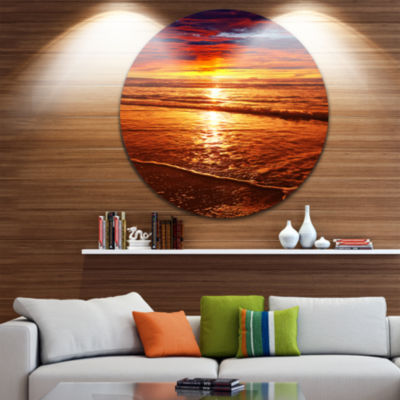 Design Art Colorful Sunset Mirrored in Waters Beach Metal Circle Wall Art