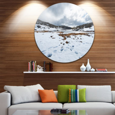 Design Art Snow Mountains in Kosciuszko Park Landscape Metal Circle Wall Art