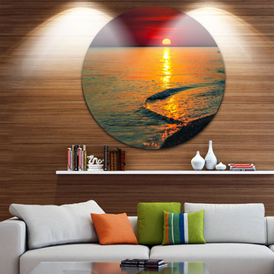Design Art Setting Sun Giving Color to Waters Modern Beach Circle Metal Wall Art