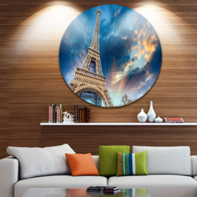 Design Art Beautiful View of Paris Paris Eiffel Towerunder Fiery Sky Ultra Glossy Cityscape Circle Wall Art