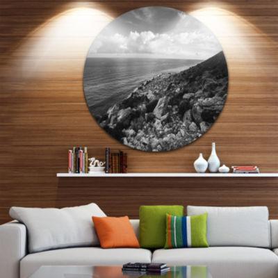 Design Art Sunrise over Sicily Black and White Beach Photo Metal Circle Wall Art