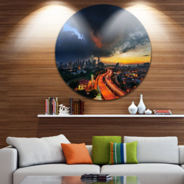 Design Art Busy Elevated Highway in Kula Lumpur Ultra Glossy Cityscape Metal Circle Wall Art
