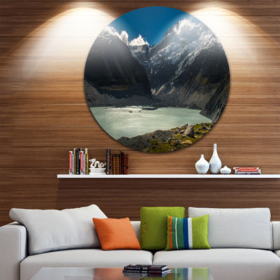 Design Art Frosty Mountains Over Blue Lake Landscape Metal Circle Wall Art