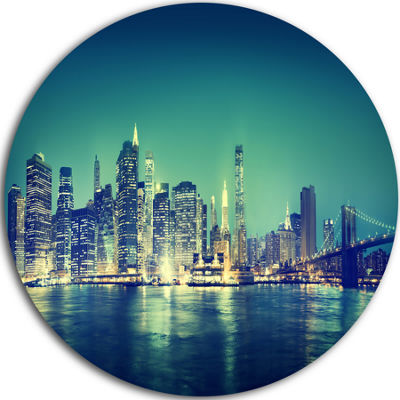 Design Art New York City Panorama Night Concept Ultra Glossy Cityscape Circle Wall Art