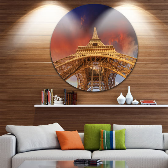 Design Art Beautiful View of Paris Paris Eiffel Towerunder Red Sky Ultra Glossy Cityscape Circle Wall Art