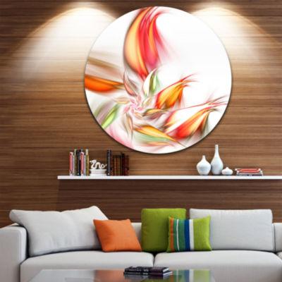 Design Art Orange Pink Fractal Floral Shapes LargeFloral Metal Circle Wall Art