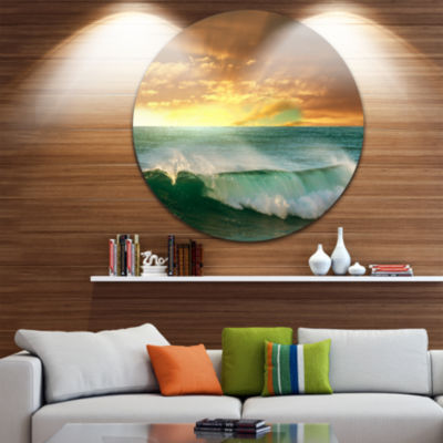 Design Art Stormy White Wave in Blue Sea Beach Metal Circle Wall Art