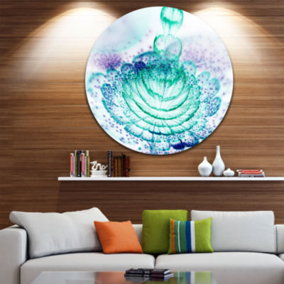 Design Art Glossy Light Blue Fractal Flower LargeFloral Metal Circle Wall Art