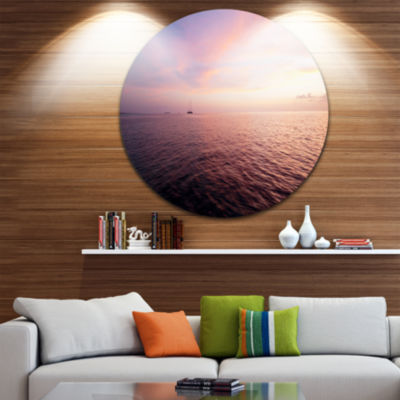 Design Art Purple Cloudy Seascape View Beach MetalCircle Wall Art