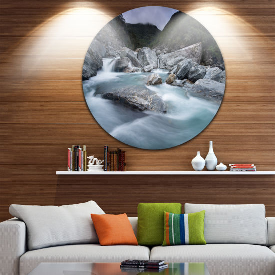 Design Art Slow Motion Mountain River and Rocks Landscape Metal Circle Wall Art