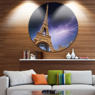 Design Art Beautiful View of Paris Paris Eiffel Towerunder Purple Sky Ultra Glossy Cityscape CircleWall Art