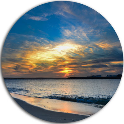 Design Art Bright Colorful Sydney Sky Over Beach Ultra Glossy Seashore Metal Circle Wall Art