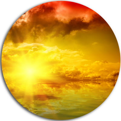 Design Art Red Dramatic Sky with Yellow Sun UltraGlossy Landscape Metal Circle Wall Art