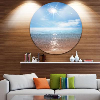 Design Art Serene Seascape with Bright Sun Beach Metal Circle Wall Art