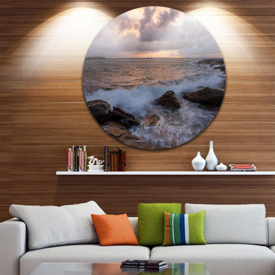 Design Art Cloudy Sky and Stormy Waves in Sydney Ultra Glossy Seashore Metal Circle Wall Art