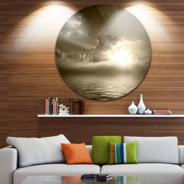 Design Art Sepia Toned Cloudy Sunrise Ultra GlossyLandscape Metal Circle Wall Art