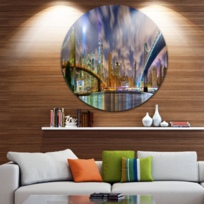 Design Art Manhattan in Memory of September 11 Ultra Glossy Cityscape Circle Wall Art