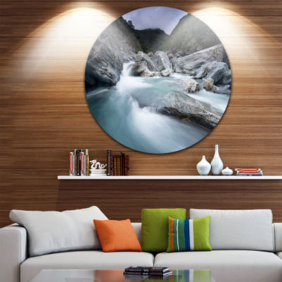 Design Art Slow Motion Mountain River in Blue Ultra Glossy Seashore Metal Circle Wall Art