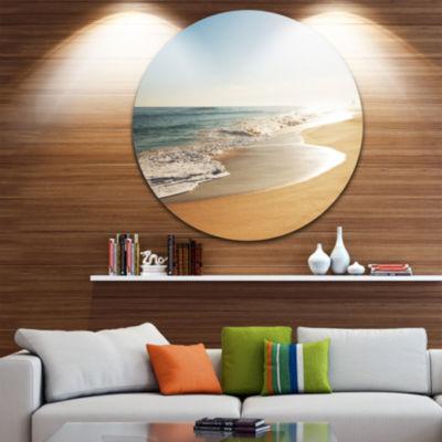 Design Art Wide Seashore with Crystal Waters BeachMetal Circle Wall Art