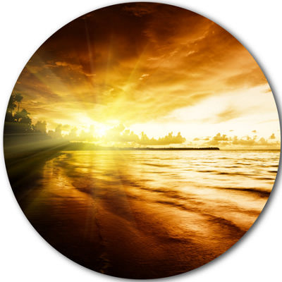 Design Art Breathtaking Yellow Caribbean Beach Seascape Metal Circle Wall Art