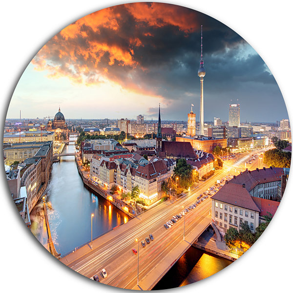 Design Art Berlin at Dawn with Dramatic Sky UltraGlossy Cityscape Metal Circle Wall Art