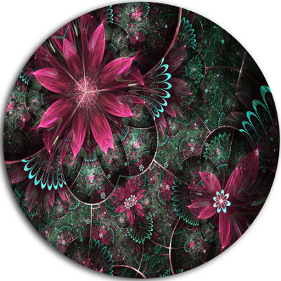 Design Art Glossy Green and Red Fractal Flowers Large Floral Metal Circle Wall Art