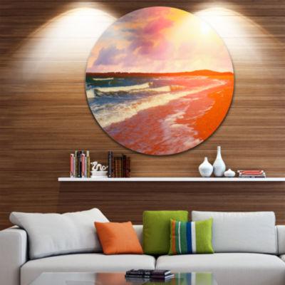 Design Art Desert Beach at Sunset Beach Metal Circle Wall Art