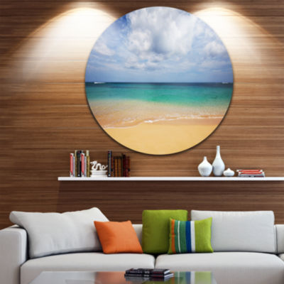Design Art Bright Seashore with Heavy Clouds BeachMetal Circle Wall Art