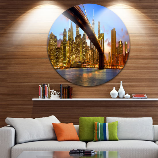 Design Art Manhattan Panorama with Skyscrapers Ultra Glossy Cityscape Circle Wall Art