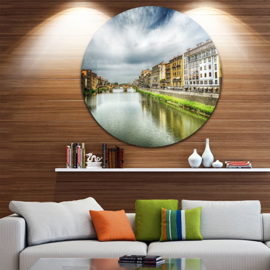Design Art Arno River under Dramatic Sky Ultra Glossy Cityscape Metal Circle Wall Art