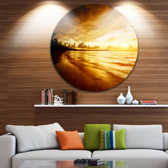 Design Art Fascinating Caribbean Beach in Yellow Seascape Metal Circle Wall Art