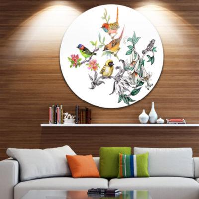 Design Art Tropical Flowers and Birds Ultra GlossyBirds Metal Circle Wall Art