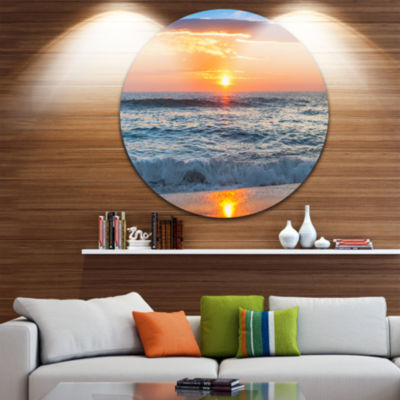 Design Art Beautiful Sunrise over the Horizon. Beach Metal Circle Wall Art