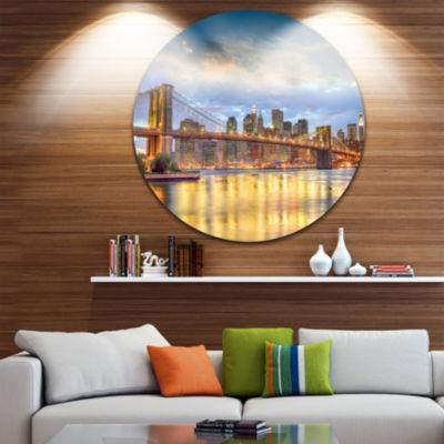 Design Art Brooklyn Bridge with Night IlluminationUltra Glossy Cityscape Circle Wall Art