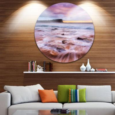 Design Art Fascinating Seashore with White WatersUltra Glossy Seashore Metal Circle Wall Art