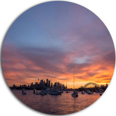 Design Art Ferry in Sydney Harbor at Sunset Landscape Metal Circle Wall Art